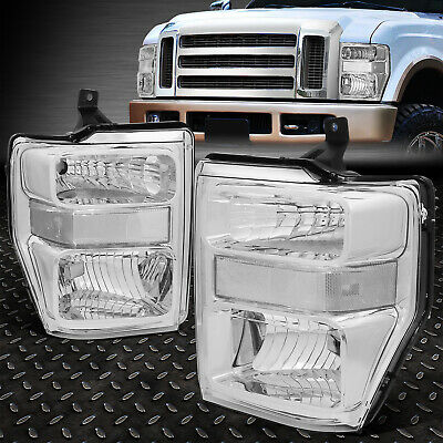 For 2008-2010 Ford Super Duty Pair Chrome Housing Clear Side Headlight/lamp Set