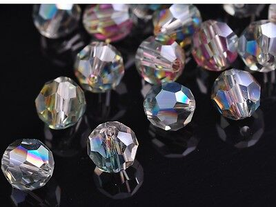 50pcs 6mm Faceted Round Ball Glass Crystal Finding Loose Spacer Beads Rose Green