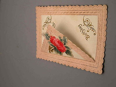 Early 1900's Combination Opening Birthday Card Postcard Die Cut Lace Vintage Old