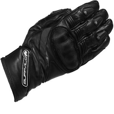 Buffalo Fresco Motorcycle Gloves Leather Carbon Hard Knuckle Street GhostBikes