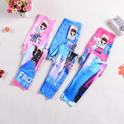Kids Girls Clothes Frozen Cosplay Pants Elsa & Anna Princess Skinny Leggings