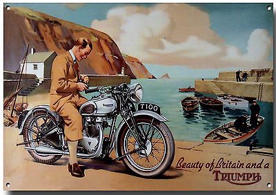 Large A3 Size Triumph T100 Enamelled Metal Advertising Sign.triumph Motorcycles.