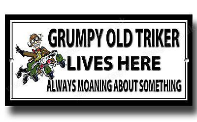 Grumpy Old Biker And Nice Lady Livehere Enamelled Finish Metal Sign,