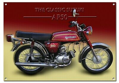 Suzuki Ap50 Classic Motorcycle Enamelled Metal Sign,retro,moped,1970S,cult.
