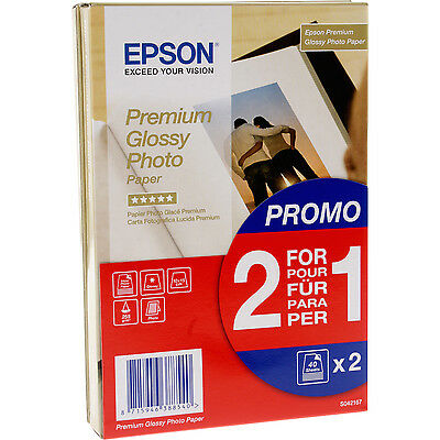 Epson S042167 Premium Glossy Photo Paper (2 for1), 10x15cm, 255G/M², 2x40 Sheets