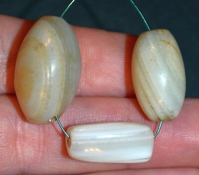 Antique White Banded Agate Stone Bead From Yoruba Tribe Nigeria, African Trade