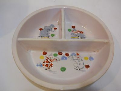 Divided Porcelain Baby Child Feeding Dish VINTAGE G.W. CO. Circus theme Clowns