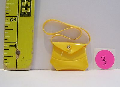 Vintage Fashion Doll 1/6 Scale Canary Yellow Vinyl Purse Good Condition #3