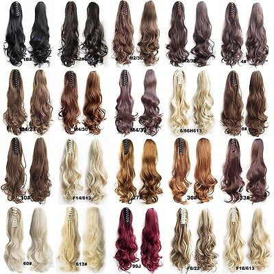 """22"""" Claw Pony tail Ponytail Clip In On Hair Extension Wavy Curly Style 28 Colors"""