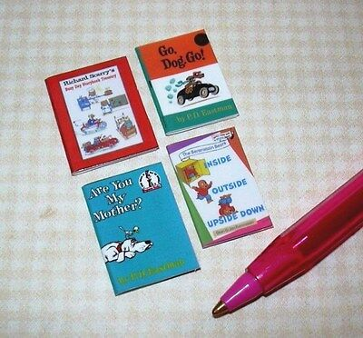 Miniature Colorful Children's Books (4) SET #13: DOLLHOUSE Miniatures 1/12 Scale