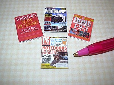 Miniature Magazines (4) SET #15, Various Titles, NO PAGES  DOLLHOUSE 1:12 Scale
