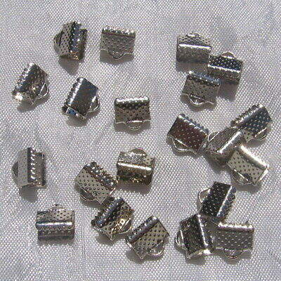 10 PINCES EMBOUTS CORDON CACHE-NOEUDS METAL ARGENTE 13mmx8mm ruban liberty *A71