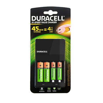 Duracell Value 4 Hour Charger with 2 x AA & 2 x AAA Batteries