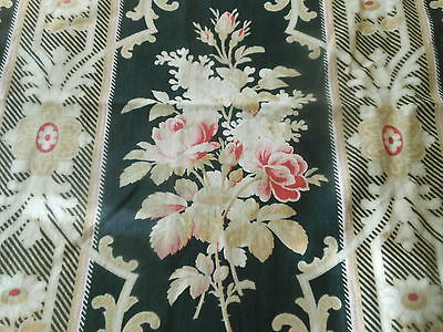 Antique 19thc French Romantic Roses Cartouche Cotton Fabric ~Rose Pink Red Black