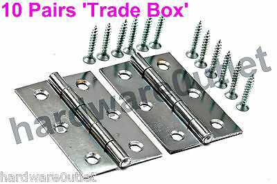"10 Pairs 3""- 75 mm Chrome Plated Internal Door Butt Hinges & Fixing Screws 1838"