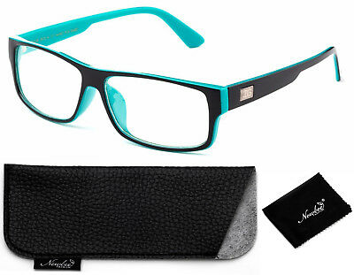 Black Teal Rectangular Frame Non Prescription Clear Lens Fashion Glasses