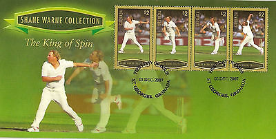 GRENADA 2007 SHANE WARNE - KING OF SPIN 4v GOLD FDC