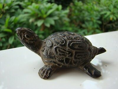TORTUE PORTE BONHEUR en BRONZE ANTIQUE ANCIEN ARTISANAT INDONESIE