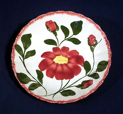Blue Ridge Southern Potteries China Red Nocturne Colonial Mint! Soup Bowl 8""