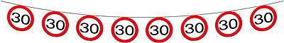 30Th Birthday Age Party 12M Party Banner Garland Traffic Sign