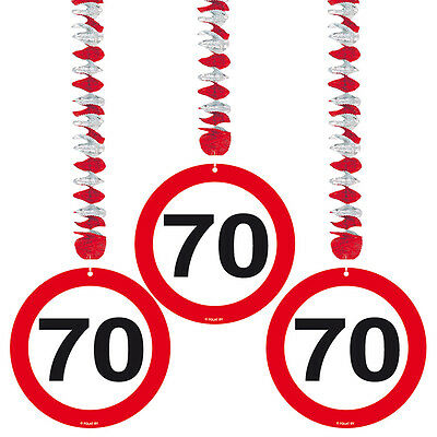 70Th Birthday Age Party 90Cm 3 Hanging Decorations Traffic Sign