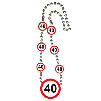 40Th Birthday Necklace Traffic Sign Age Party