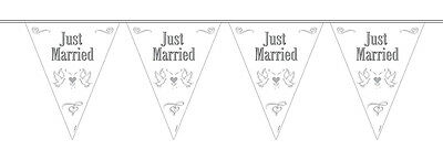 Just Married Doves Decorated Wedding Flag Party Banner 10M