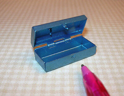 Miniature Blue Metal Tackle Box, Hinged/Opens DOLLHOUSE Miniatures 1/12 Scale