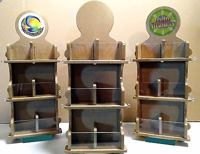 "19"" DOUBLE SIDED WOOD 12 Bin & 8 HOOK COUNTERTOP DISPLAY Rotary spinner"