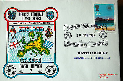 England v Greece 1983 - European Championships - Football Cover - Wembley