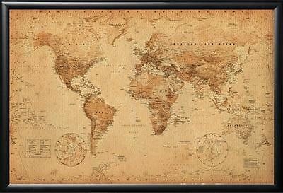 VINTAGE WORLD MAP Decorative Antique Style Framed in Executive Black Wood