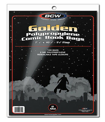 100 BCW Golden Comic Book Bags - Sleeves