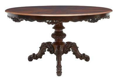Fine 19Th Century Continental Carved Rosewood Center Dining Table