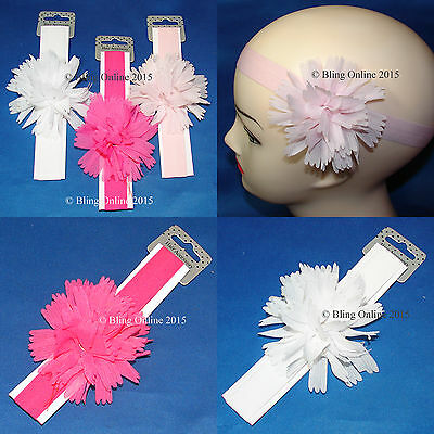 Childs/Infants Stretch Flower Headband Elastic Hair Head Band Baby Pink White..