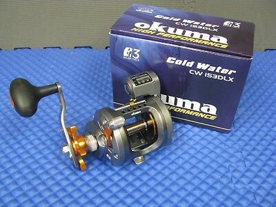 Okuma Cold Water Left Hand Trolling Reel with Line Counter CW 153DLX