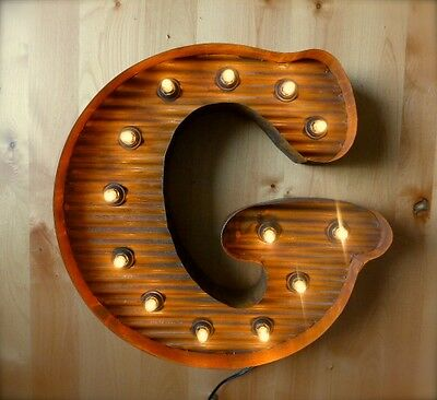 "LG BROWN VINTAGE STYLE LIGHT UP MARQUEE LETTER G, 24"" TALL novelty rustic sign"