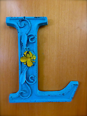 "BLUE CAST IRON WALL LETTER ""L"" 6.5"" TALL rustic vintage decor sign child nursery"