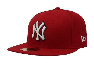 New Era Fitted Cap 59Fifty New York Yankees Red White Black Outline Hat Custom