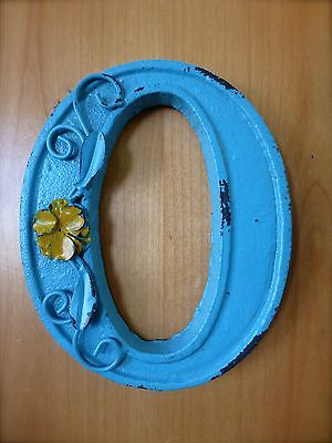 "BLUE CAST IRON WALL LETTER ""O"" 6.5"" TALL rustic vintage decor sign child nursery"