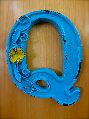 "BLUE CAST IRON WALL LETTER ""Q"" 6.5"" TALL rustic vintage decor sign child nursery"