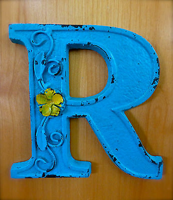 "BLUE CAST IRON WALL LETTER ""R"" 6.5"" TALL rustic vintage decor sign child nursery"