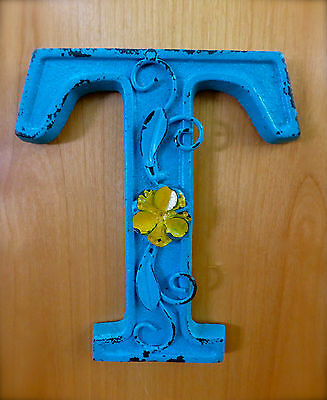 "BLUE CAST IRON WALL LETTER ""T"" 6.5"" TALL rustic vintage decor sign child nursery"