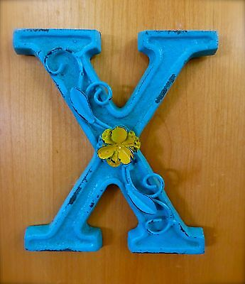 "BLUE CAST IRON WALL LETTER ""X"" 6.5"" TALL rustic vintage decor sign child nursery"