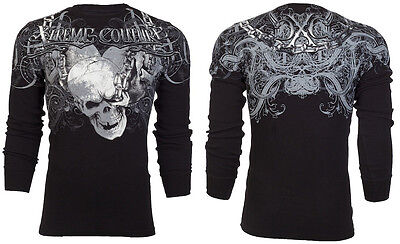 XTREME COUTURE by AFFLICTION Mens THERMAL Shirt WHIPLASH Skull Biker MMA UFC $58