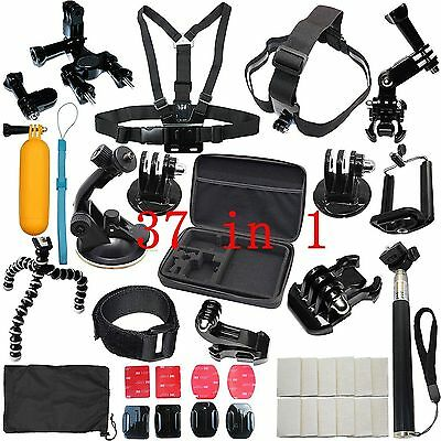37in1 Head Chest Mount Monopod Accessories Kit For GoPro Hero 1 2 3 4 5 Camera