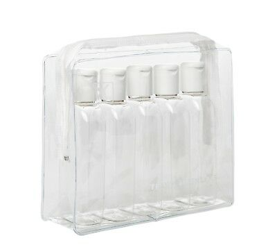 HOLIDAY TRAVEL BOTTLE PACK - 5 x 100ML Clear Plastic Bottles + Clear Airline Bag
