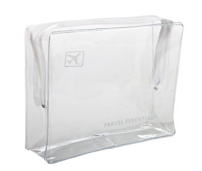 HOLIDAY TRAVEL TOILETRIES BAG - Clear Plastic Airline Airport Bag 17 x 14 x 5cm