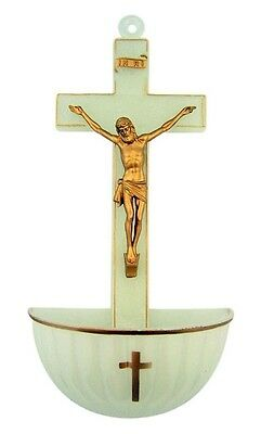 "Jesus Christ on Cross Crucifix 5"" Luminous Glow in the Dark Holy Water Wall Font"