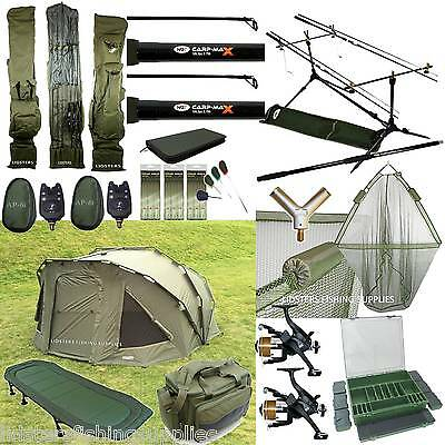Full Carp Fishing set up 2 man Bivvy 2 Rods Reels Bag Alarm Tackle Bed Chair Net