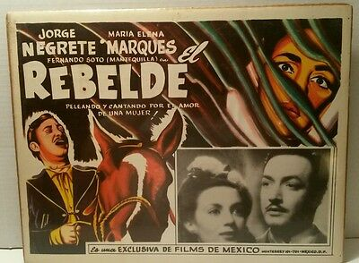 Vintage Spanish Films of Mexico Original Theater Movie Poster El Rebelde Rebel